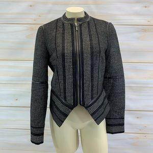 Diane von Furstenberg Shawna Jacket 4 Leather Trim